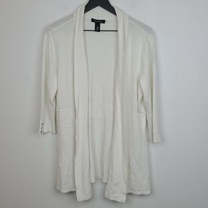 WHBM cream open front cardigan size large